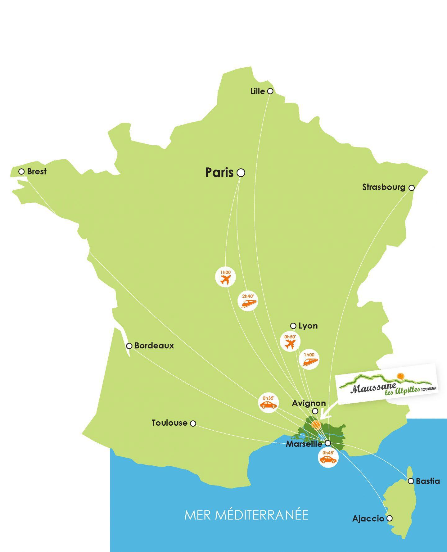 Carte accès Maussane les Alpilles